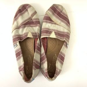 Toms Purple Candy Stripe Canvas Slip On Shoes 7